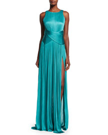 Agmar Ruched Open-Back Silk Gown, Lagoon