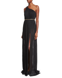 Caipirinna Pleated One-Shoulder Silk Gown, Black