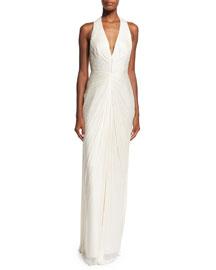 Eliz Sleeveless V-Neck Ruched Silk Gown, Panaco