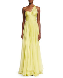 Andora Ruched One-Shoulder Sweetheart Gown, Aurora