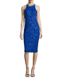 Gidget Embellished Fitted Dress, Electric