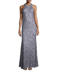 Sequin-Embellished Halter Gown