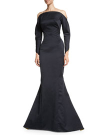 Off-the-Shoulder Long-Sleeve Satin Gown, Navy/Lime