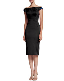 Off-the-Shoulder Bicolor Cocktail Sheath Dress, Black/Blue