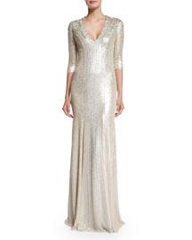 3/4-Sleeve Beaded Silk Gown, Lunar