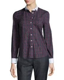 Tartan-Plaid Button-Down Shirt