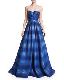 Strapless Ombre Ball Gown, Iris Blue