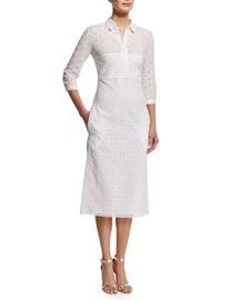 3/4-Sleeve Cotton Eyelet Shirtdress, White