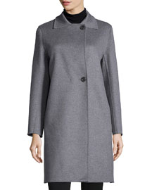 Two-Button Wool-Blend Coat, Light Gray