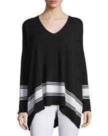 V-Neck Striped Cashmere Sweater, Black/White