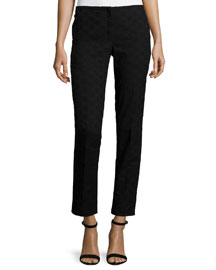 Cropped Skinny Eyelet Pants, Black