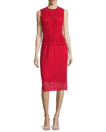 Sleeveless Ruched Eyelet Dress, Red