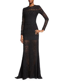 Long-Sleeve Macrame Lace Gown, Black