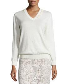 Long-Sleeve Fringed V-Neck Sweater, Ivory