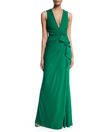 Wrap-Front Sleeveless Jersey Gown, Palm