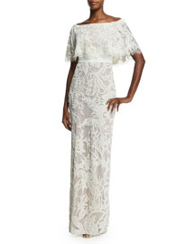 Embroidered Off-the-Shoulder Gown, Gardenia