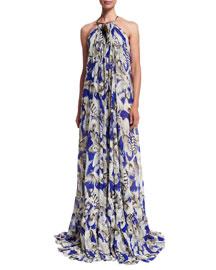 Floral-Print Silk Georgette Halter Gown, Blue