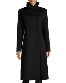 Wrap-Neck Long Wool Coat, Black