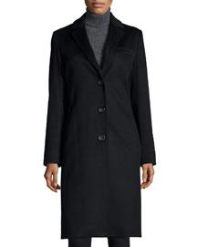 Cashmere Three-Button Top Coat, Black