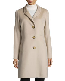 Three-Button Wool Coat, Sand
