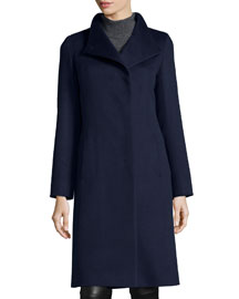 High-Neck Asymmetric-Front Wool Jacket, Navy