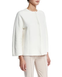 Round-Neck Bracelet-Sleeve Cashmere Jacket, White