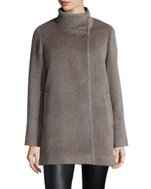 High-Neck Llama-Blend Coat, Taupe