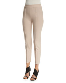 Stretch-Wool Cropped Ankle Pants, Blush