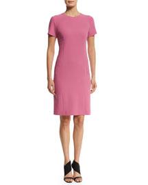 Short-Sleeve Wool Sheath Dress, Pink