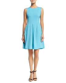 Sleeveless Cady Fit-and-Flare Dress, Turquoise