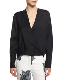 Long-Sleeve Surplice Cady Top, Black