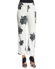 Cropped Flower-Print Wide-Leg Pants