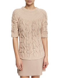 Half-Sleeve Cable-Knit Sweater, Blush