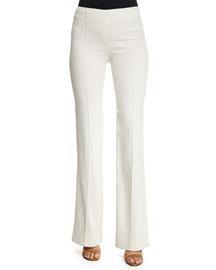 High-Waist Flare-Leg Cady Pants, White