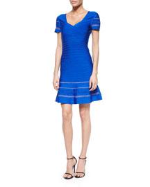 Short-Sleeve Crisscross Bandage Dress, Blue