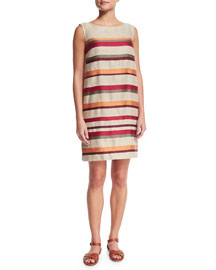 Renee Fancy Stripe Sleeveless Shift Dress, Orange Red Fancy