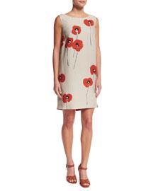 Sleeveless Poppy-Print Linen Shift Dress, Oats/Orange