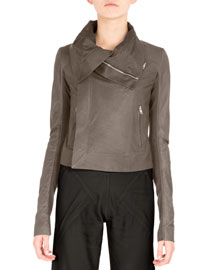 Classic Leather Combo Biker Jacket, Dark Dust