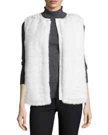Mink Fur Vest w/Quilted Back, White