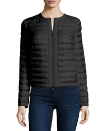 Quilted Collarless Down Jacket, Black