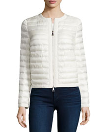 Quilted Collarless Down Jacket, White