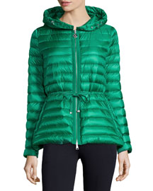 Hooded Nylon Drawstring Jacket, Kelly Green