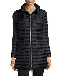Quilted Four-Pocket Down Coat, Black