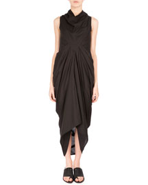Nasaka Sleeveless Draped Cotton Dress, Black