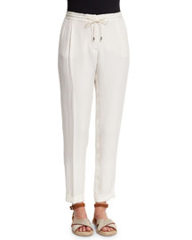 Danny Slim-Leg Drawstring Pants, White