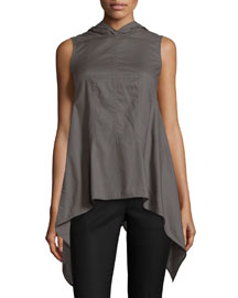 Sleeveless V-Neck Sphinx Drape Top, Dark Dust
