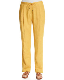 Larrie Drawstring Linen Pants, Honey Light Gold