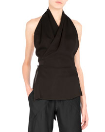 Halter-Neck Wrap Blouse, Black