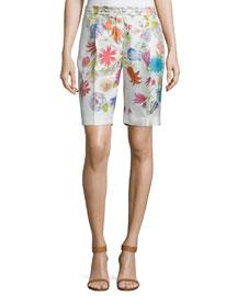Larrie Printed Silk Bermuda Shorts, Floral White