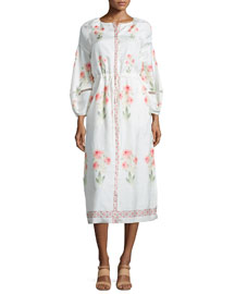 Floral-Print Bishop-Sleeve Silk Dress, Rose